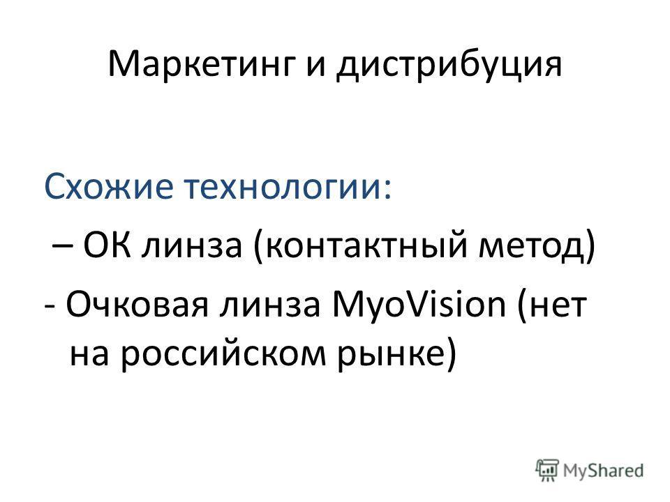 Маркетинг и дистрибуция Схожие технологии: – ОК линза (контактный метод) - Очковая линза MyoVision (нет на российском рынке)