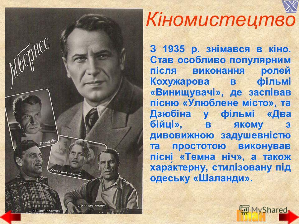 Кіномистецтво З 1935 р. знімався в кіно. Став особливо популярным після виконання ролей Кохужарова в фільмі «Винищувачі», де заспівав пісню «Улюблене місто», та Дзюбіна у фільмі «Два бійці», в якому з дивовижною задушевністю та простотою виконував пі