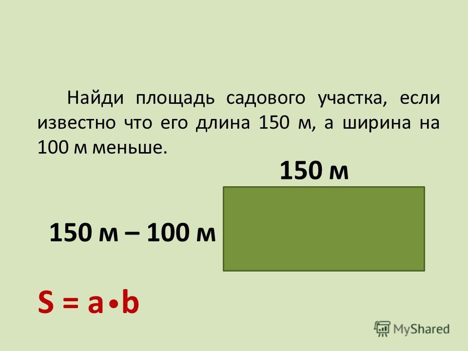 Найди площадь садового участка, если известно что его длина 150 м, а ширина на 100 м меньше. 150 м 150 м – 100 м 50 м S = а b