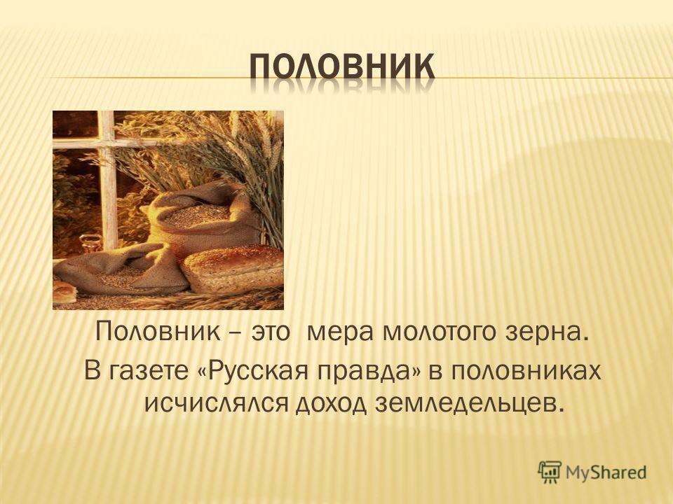 Половник – это мера молотого зерна. В газете «Русская правда» в половниках исчислялся доход земледельцев.