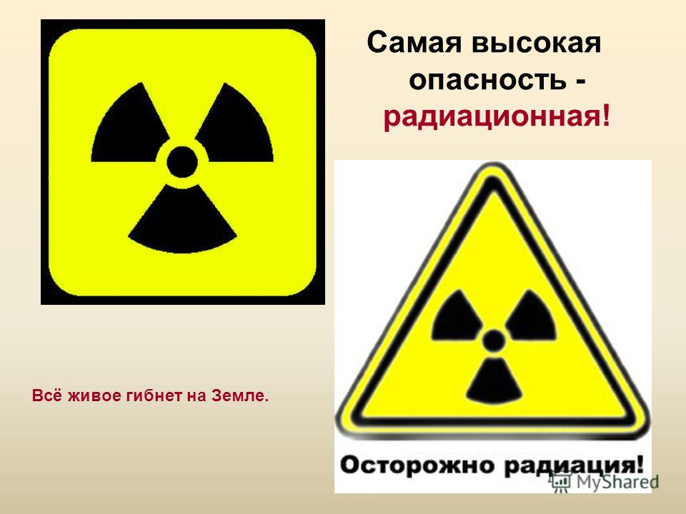 Самая высокая опасность - радиационная! Всё живое гибнет на Земле.
