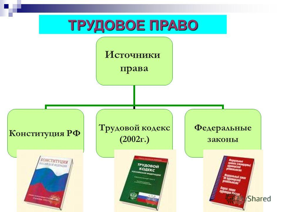 Источники права Конституция РФ Трудовой кодекс (2002 г.) Федеральные законы ТРУДОВОЕ ПРАВО
