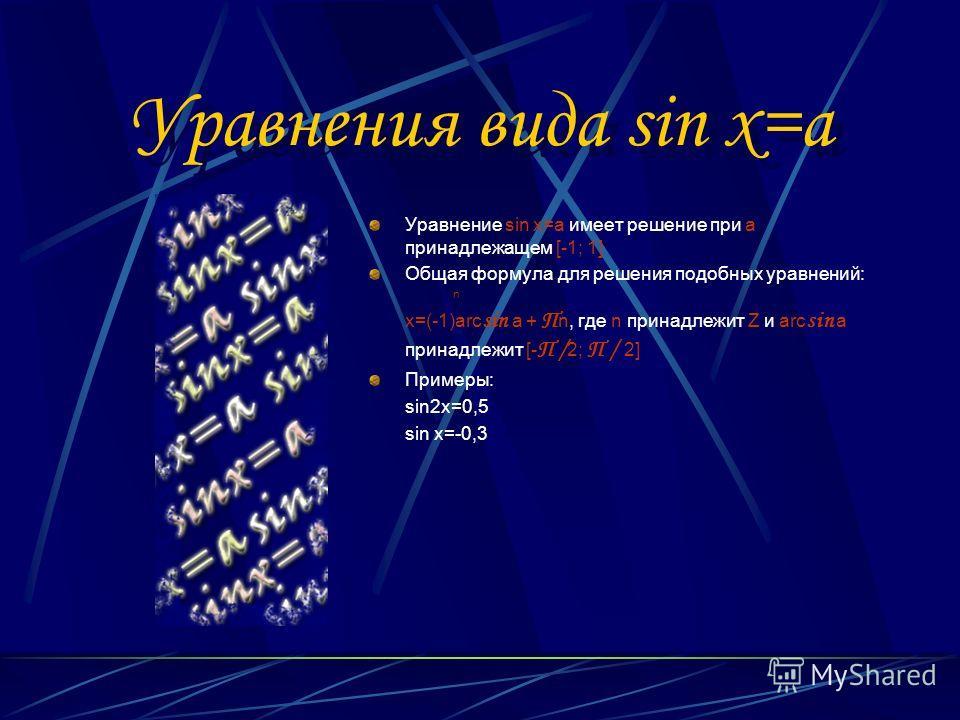 Уравнения вида sin x=a Уравнение sin x=a имеет решение при а принадлежащем [-1; 1] Общая формула для решения подобных уравнений: n x=(-1)arc sin a + П n, где n принадлежит Z и arc sin a принадлежит [- П / 2; П / 2] Примеры: sin2x=0,5 sin x=-0,3