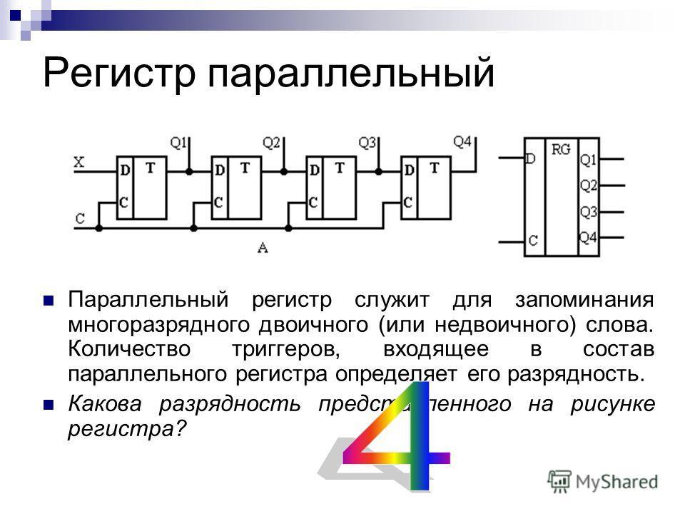 Регистр параллельный Параллельный регистр служит для запоминания многоразрядного двоичного (или недвоичного) слова. Количество триггеров, входящее в состав параллельного регистра определяет его разрядность. Какова разрядность представленного на рисун