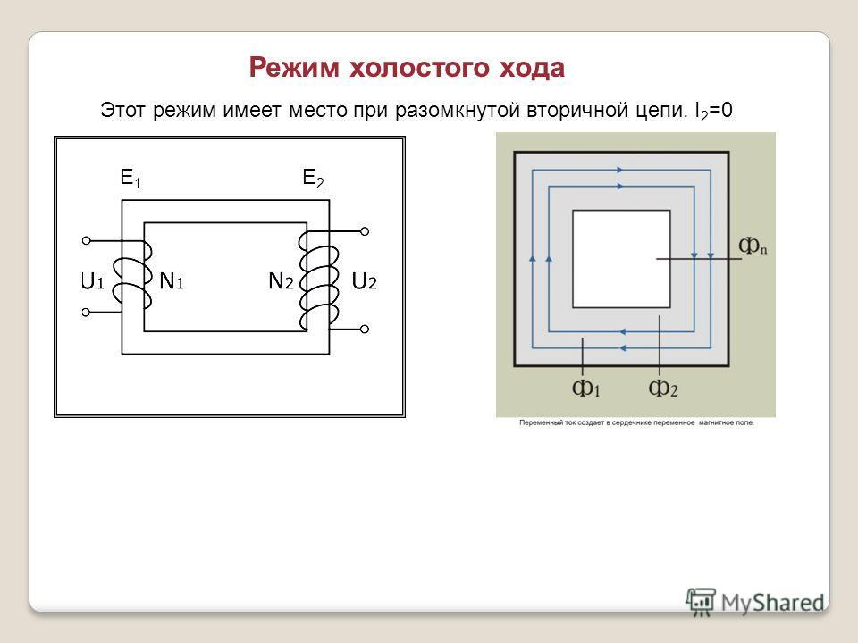 Режим холостого хода Е1Е1 Е2Е2 Этот режим имеет место при разомкнутой вторичной цепи. I 2 =0