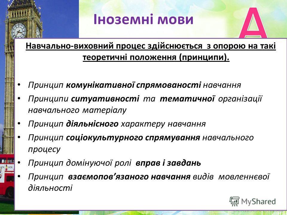 Іноземні мови Навчально-виховний процес здійснюється з опорою на такі теоретичні положення (принципи). Принцип комунікативної спрямованості навчання Принципи ситуативності та тематичної організації навчального матеріалу Принцип діяльнісного характеру