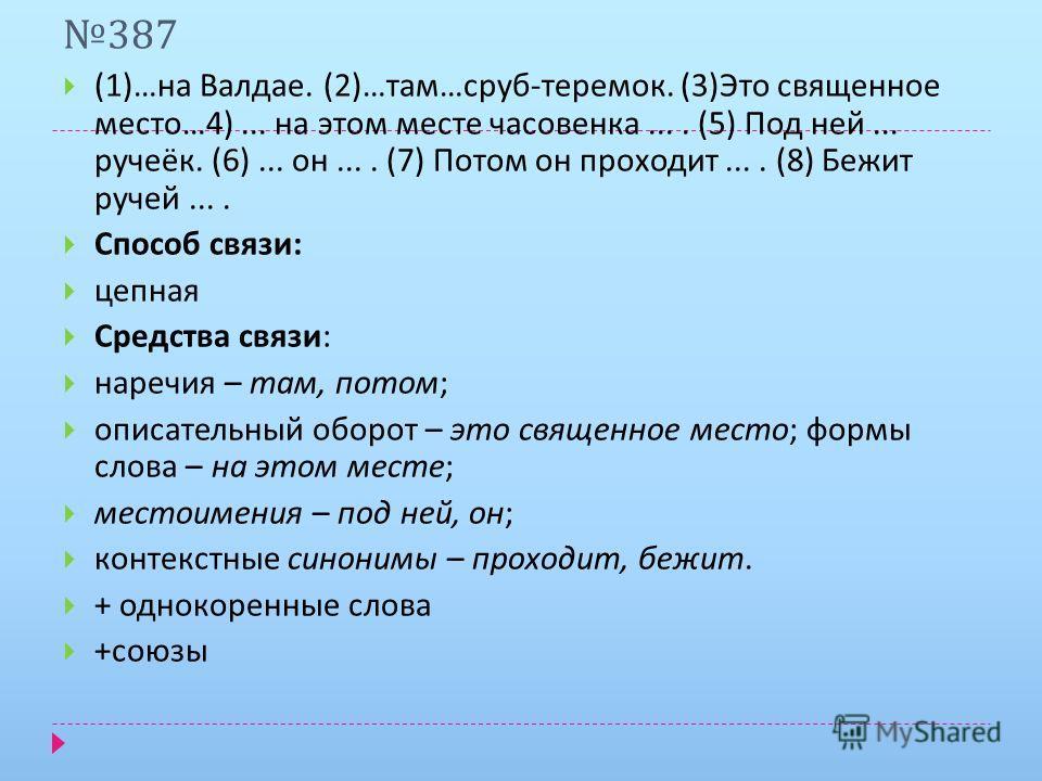 387 (1)… на Валдае. (2)… там … сруб - теремок. (3) Это священное место …4)... на этом месте часовенка.... (5) Под ней... ручеёк. (6)... он.... (7) Потом он проходит.... (8) Бежит ручей.... Способ связи : цепная Средства связи : наречия – там, потом ;