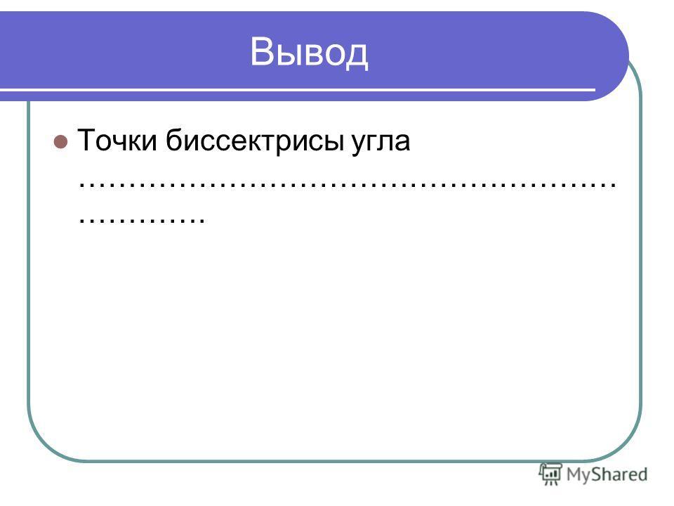 Вывод Точки биссектрисы угла ……………………………………………… ………….