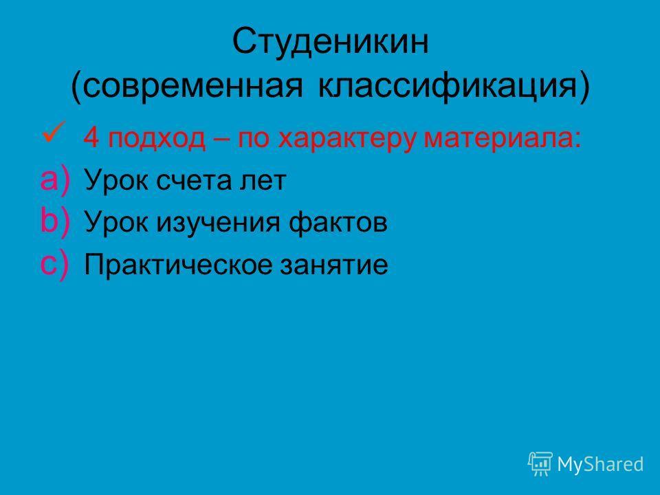 Студеникин (современная классификация) 4 подход – по характеру материала: a) Урок счета лет b) Урок изучения фактов c) Практическое занятие