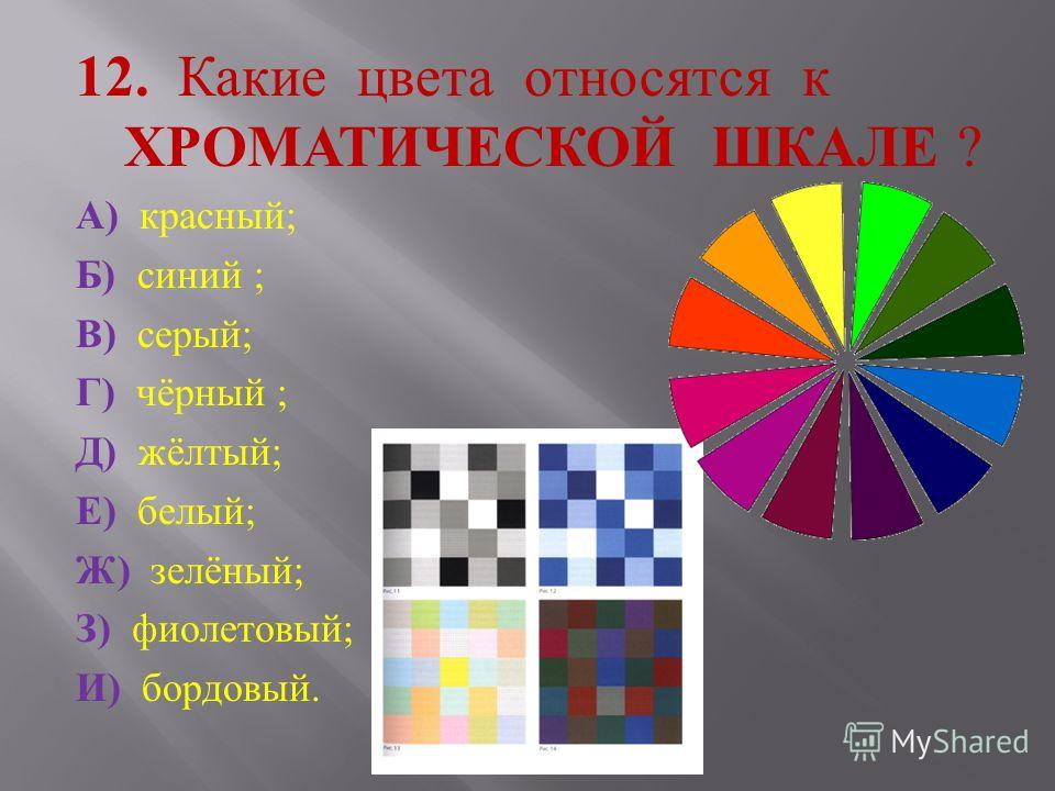12. Какие цвета относятся к ХРОМАТИЧЕСКОЙ ШКАЛЕ ? А ) красный ; Б ) синий ; В ) серый ; Г ) чёрный ; Д ) жёлтый ; Е ) белый ; Ж ) зелёный ; З ) фиолетовый ; И ) бордовый.