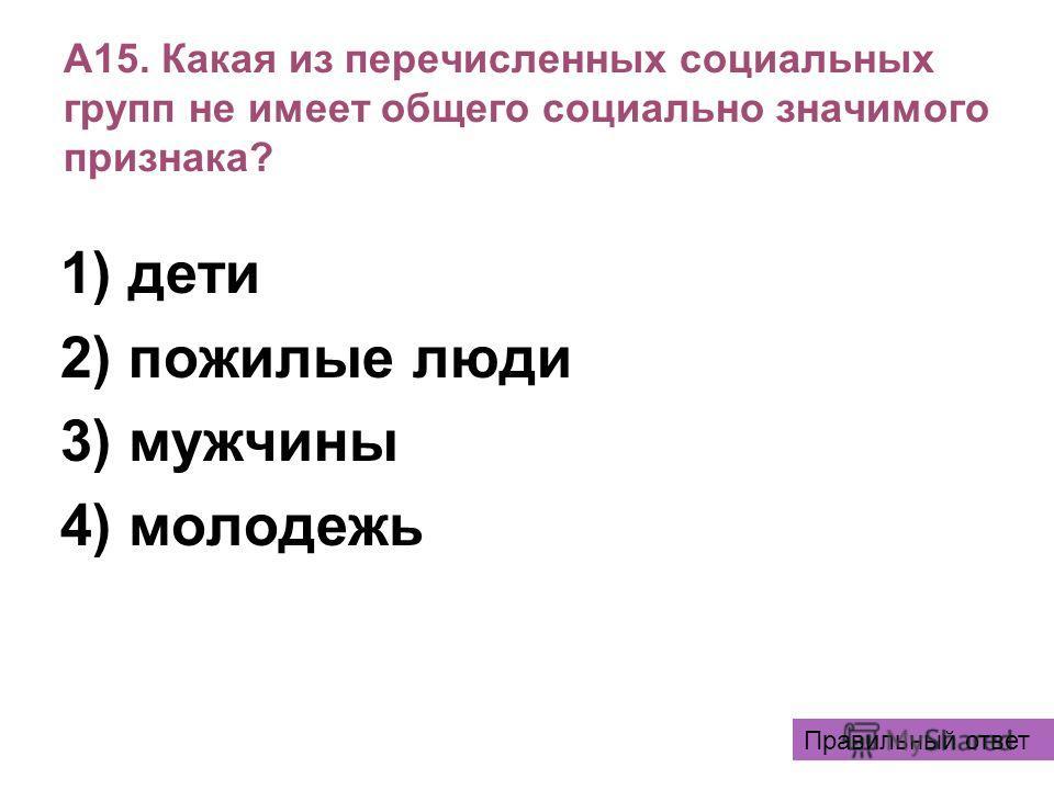 А15. Какая из перечисленных социальных групп не имеет общего социально значимого признака? 1) дети 2) пожилые люди 3) мужчины 4) молодежь Правильный ответ