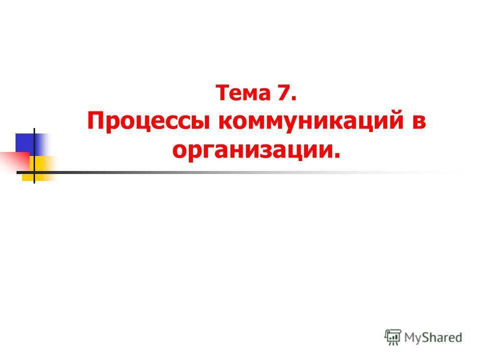 Тема 7. Процессы коммуникаций в организации.