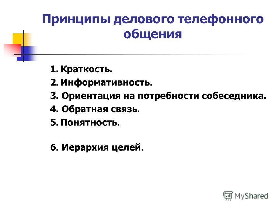 Принципы делового телефонного общения 1.Краткость. 2.Информативность. 3. Ориентация на потребности собеседника. 4. Обратная связь. 5.Понятность. 6. Иерархия целей.