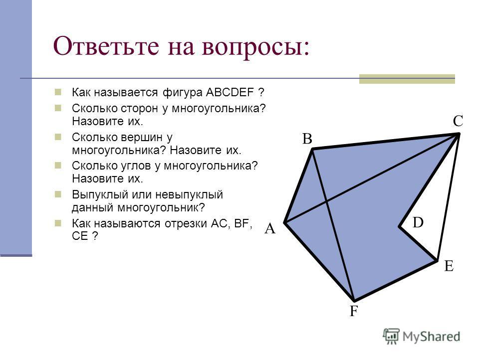 Ответьте на вопросы: Как называется фигура АВСDEF ? Сколько сторон у многоугольника? Назовите их. Сколько вершин у многоугольника? Назовите их. Сколько углов у многоугольника? Назовите их. Выпуклый или невыпуклый данный многоугольник? Как называются