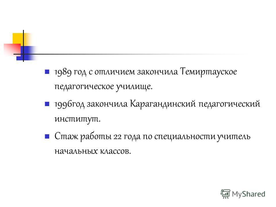1989 год с отличием закончила Темиртауское педагогическое училище. 1996 год закончила Карагандинский педагогический институт. Стаж работы 22 года по специальности учитель начальных классов.