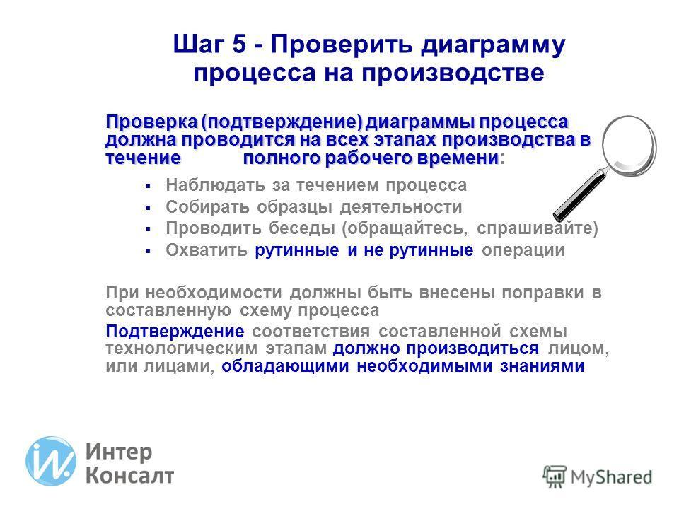 Шаг 5 - Проверить диаграмму процесса на производстве Проверка (подтверждение) диаграммы процесса должна проводится на всех этапах производства в течение полного рабочего времени Проверка (подтверждение) диаграммы процесса должна проводится на всех эт