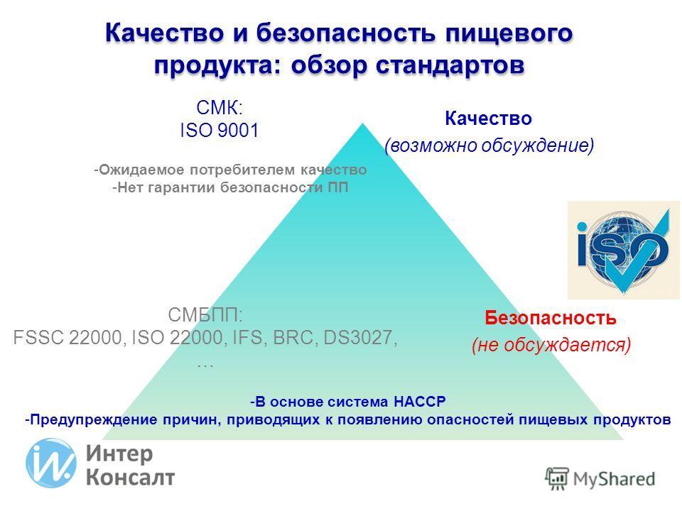 Качество (возможно обсуждение) Безопасность (не обсуждается) СМК: ISO 9001 СМБПП: FSSC 22000, ISO 22000, IFS, BRC, DS3027, … -Ожидаемое потребителем качество -Нет гарантии безопасности ПП -В основе система HACCP -Предупреждение причин, приводящих к п