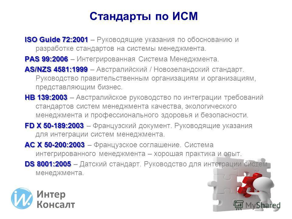ISO Guide 72:2001 ISO Guide 72:2001 – Руководящие указания по обоснованию и разработке стандартов на системы менеджмента. PAS 99:2006 PAS 99:2006 – Интегрированная Система Менеджмента. AS/NZS 4581:1999 AS/NZS 4581:1999 – Австралийский / Новозеландски