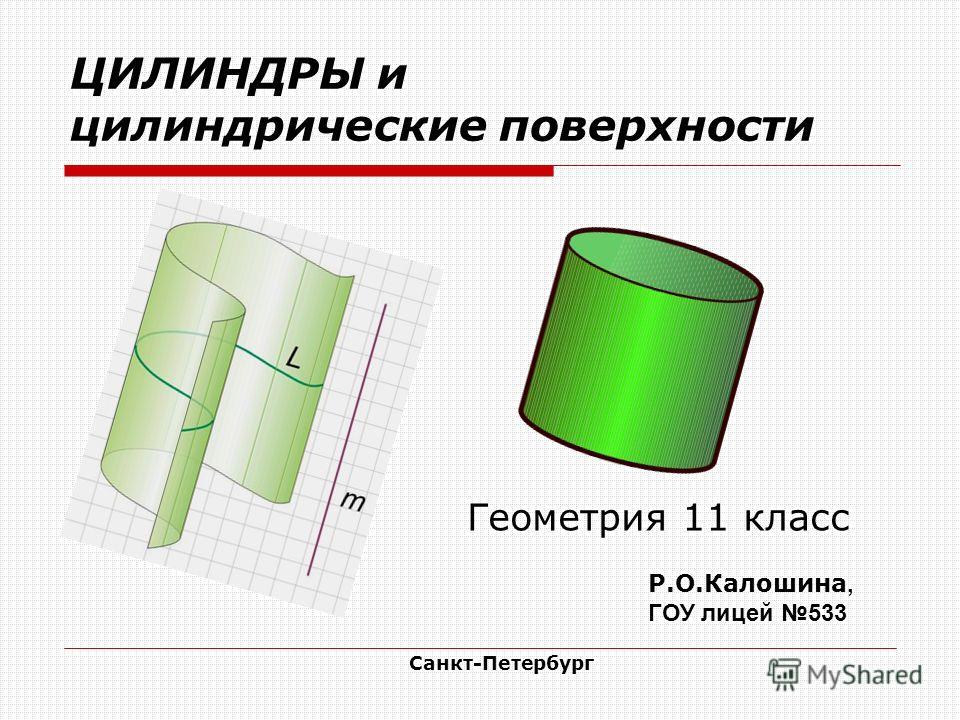 ЦИЛИНДРЫ и цилиндрические поверхности Геометрия 11 класс Р.О.Калошина, ГОУ лицей 533 Санкт-Петербург
