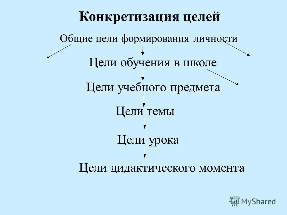 Общие цели формирования личности Цели учебного предмета Цели темы Цели урока Конкретизация целей Цели обучения в школе Цели дидактического момента