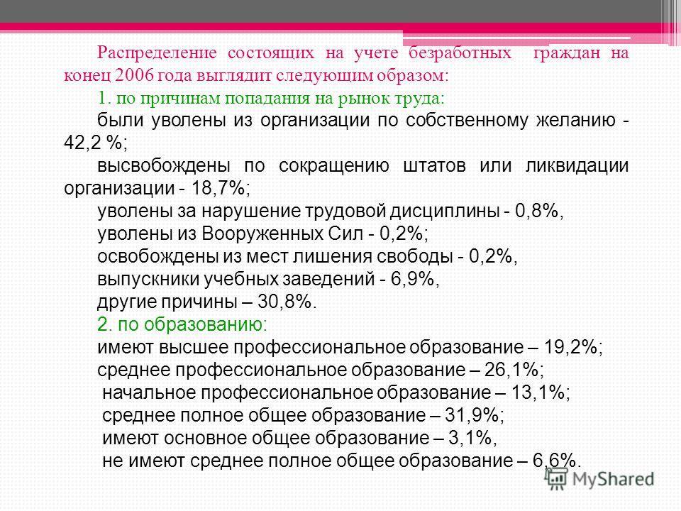 Распределение состоящих на учете безработных граждан на конец 2006 года выглядит следующим образом: 1. по причинам попадания на рынок труда: были уволены из организации по собственному желанию - 42,2 %; высвобождены по сокращению штатов или ликвидаци