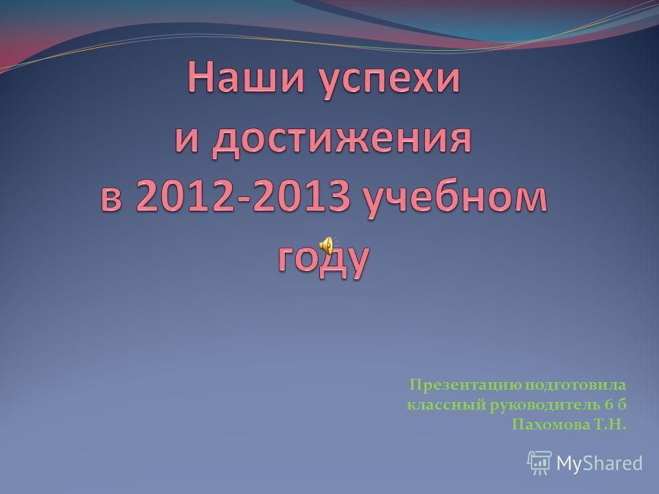 Презентацию подготовила классный руководитель 6 б Пахомова Т.Н.