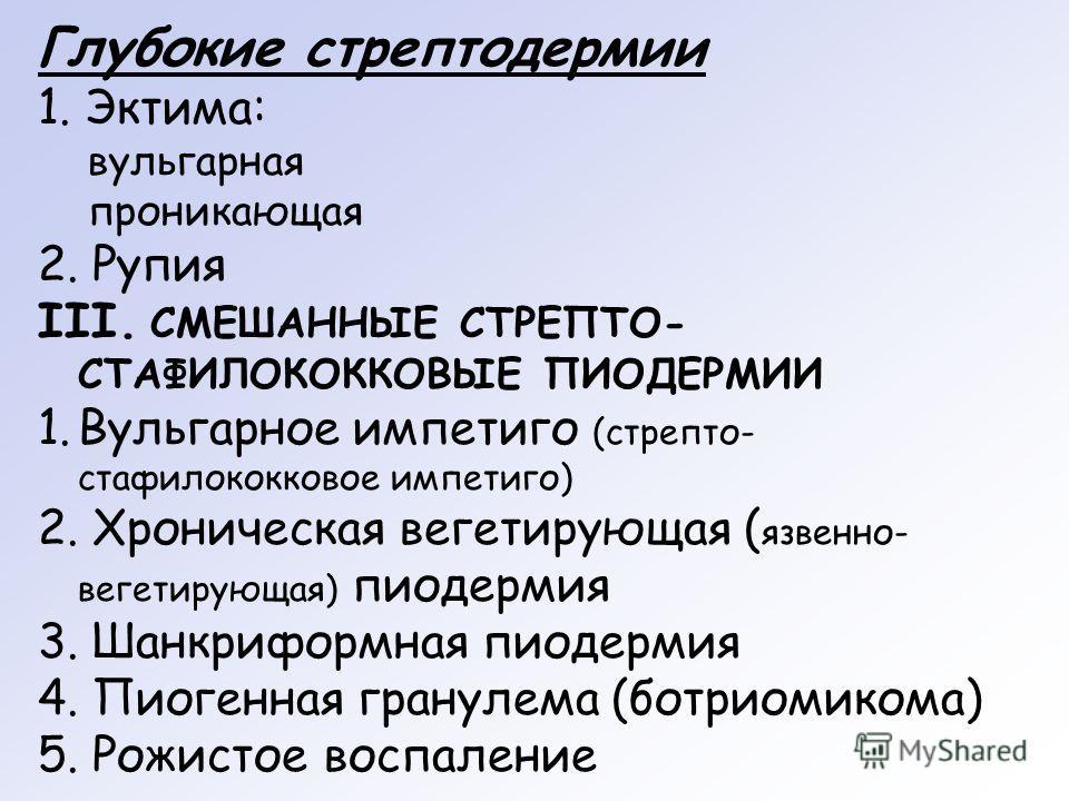Глубокие стрептодермии 1. Эктима: вульгарная проникающая 2. Рупия III. СМЕШАННЫЕ СТРЕПТО- СТАФИЛОКОККОВЫЕ ПИОДЕРМИИ 1. Вульгарное импетиго (стрепто- стафилококковое импетиго) 2. Хроническая вегетирующая ( язвенно- вегетирующая) пиодермия 3. Шанкрифор