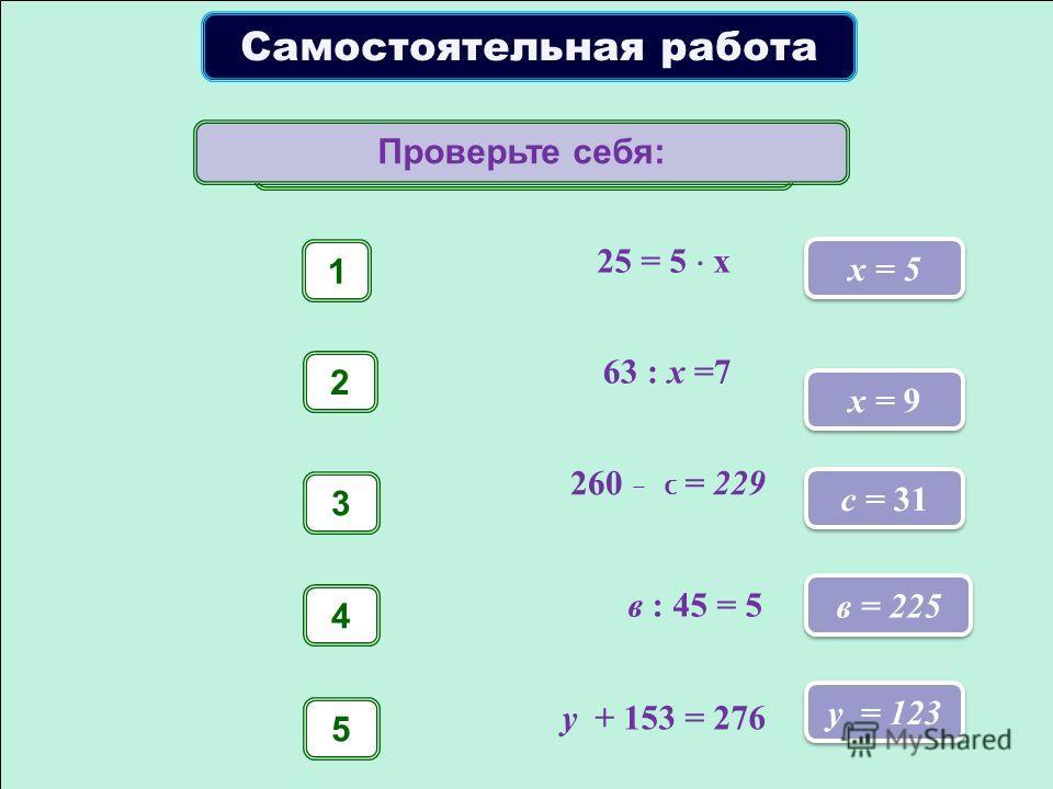 Самостоятельная работа 25 = 5 х 1 х = 5 63 : x =7 2 x = 9 260 – с = 229 3 с = 31 в : 45 = 5 4 в = 225 у + 153 = 276 5 у = 123 Решите уравнение. Проверьте себя: