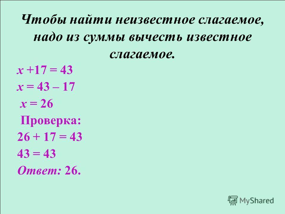 Чтобы найти неизвестное слагаемое, надо из суммы вычесть известное слагаемое. x +17 = 43 x = 43 – 17 x = 26 Проверка: 26 + 17 = 43 43 = 43 Ответ: 26.
