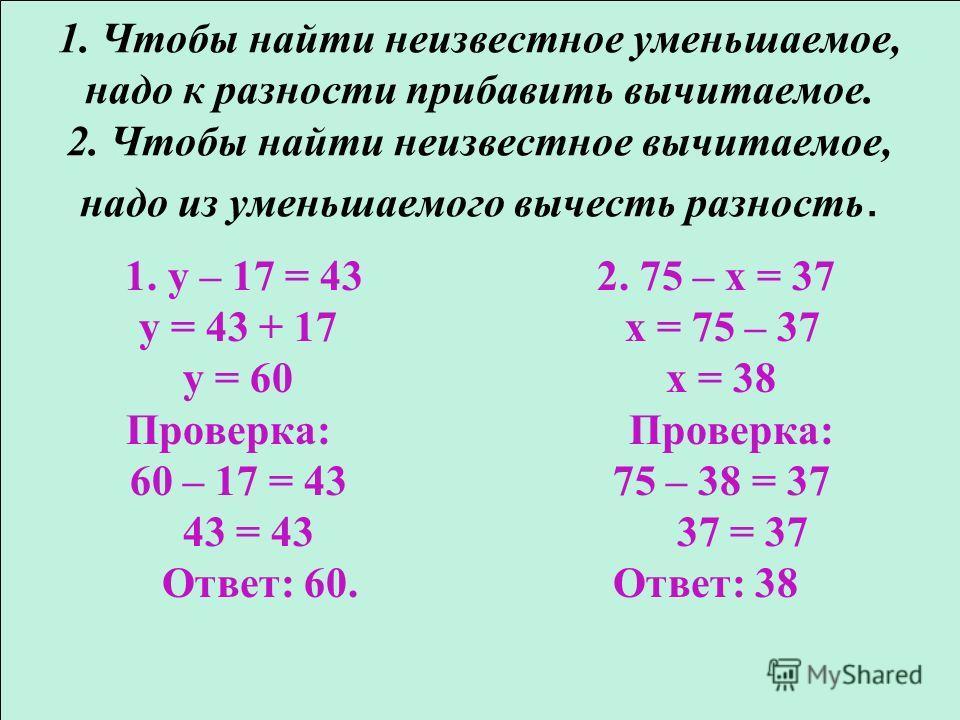 1. Чтобы найти неизвестное уменьшаемое, надо к разности прибавить вычитаемое. 2. Чтобы найти неизвестное вычитаемое, надо из уменьшаемого вычесть разность. 1. y – 17 = 43 2. 75 – х = 37 y = 43 + 17 х = 75 – 37 y = 60 х = 38 Проверка: Проверка: 60 – 1