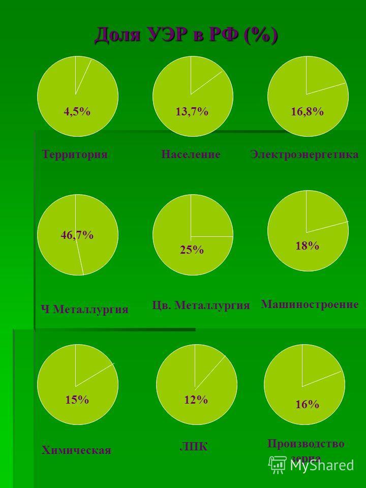 Доля УЭР в РФ (%) 4,5%16,8%13,7% 18% 25% 46,7% 12%15% Территория НаселениеЭлектроэнергетика Ч Металлургия Цв. Металлургия Машиностроение Химическая ЛПК Производство зерна 16%
