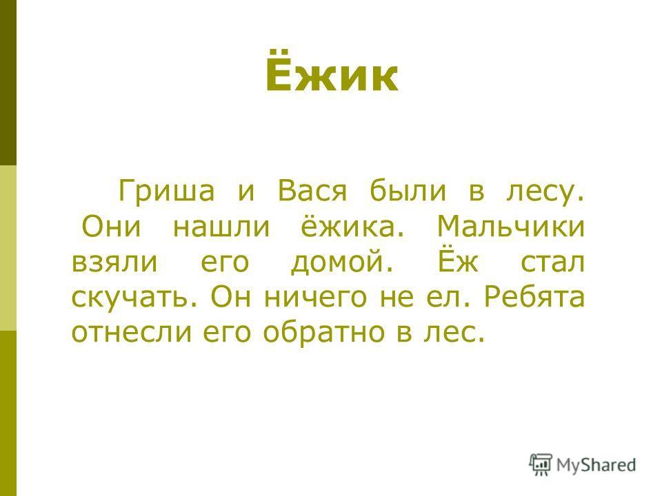 Ёжик Гриша и Вася были в лесу. Они нашли ёжика. Мальчики взяли его домой. Ёж стал скучать. Он ничего не ел. Ребята отнесли его обратно в лес.