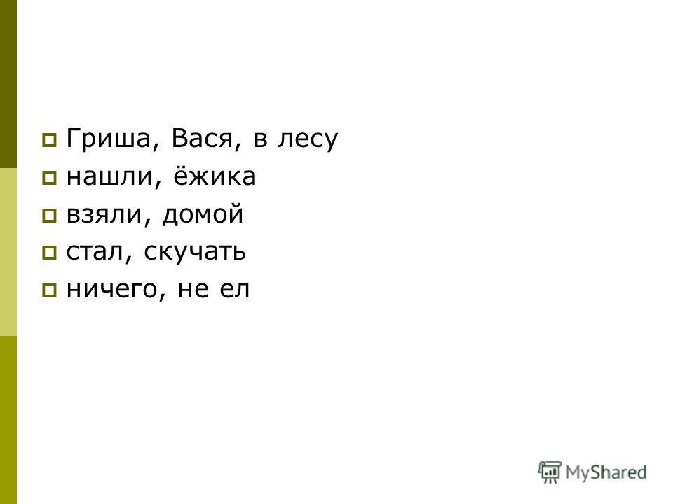 Гриша, Вася, в лесу нашли, ёжика взяли, домой стал, скучать ничего, не ел