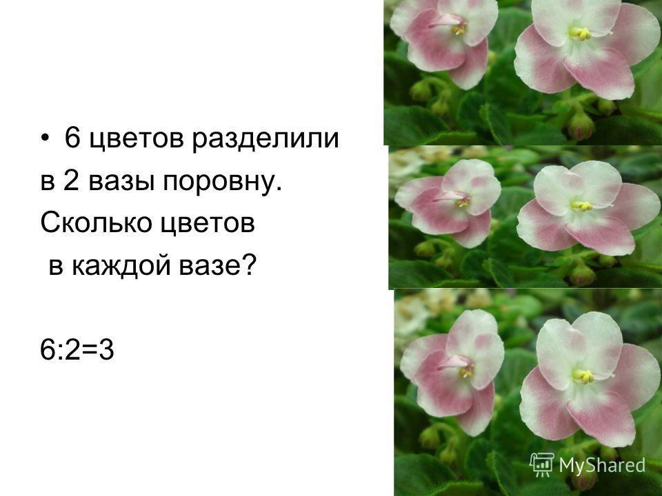 6 цветов разделили в 2 вазы поровну. Сколько цветов в каждой вазе? 6:2=3