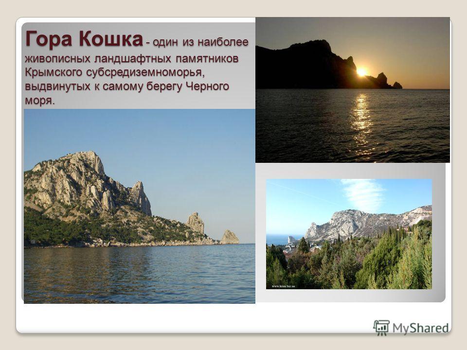 Гора Кошка - один из наиболее живописных ландшафтных памятников Крымского суп средиземноморья, выдвинутых к самому берегу Черного моря.