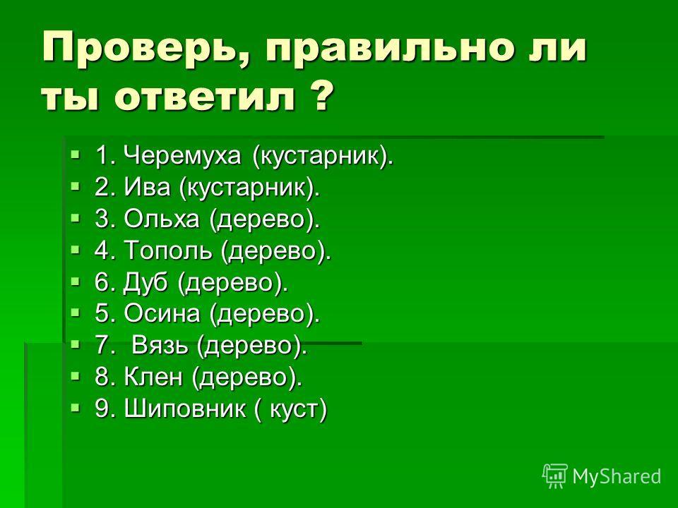 Проверь, правильно ли ты ответил ? 1. Черемуха (кустарник). 1. Черемуха (кустарник). 2. Ива (кустарник). 2. Ива (кустарник). 3. Ольха (дерево). 3. Ольха (дерево). 4. Тополь (дерево). 4. Тополь (дерево). 6. Дуб (дерево). 6. Дуб (дерево). 5. Осина (дер