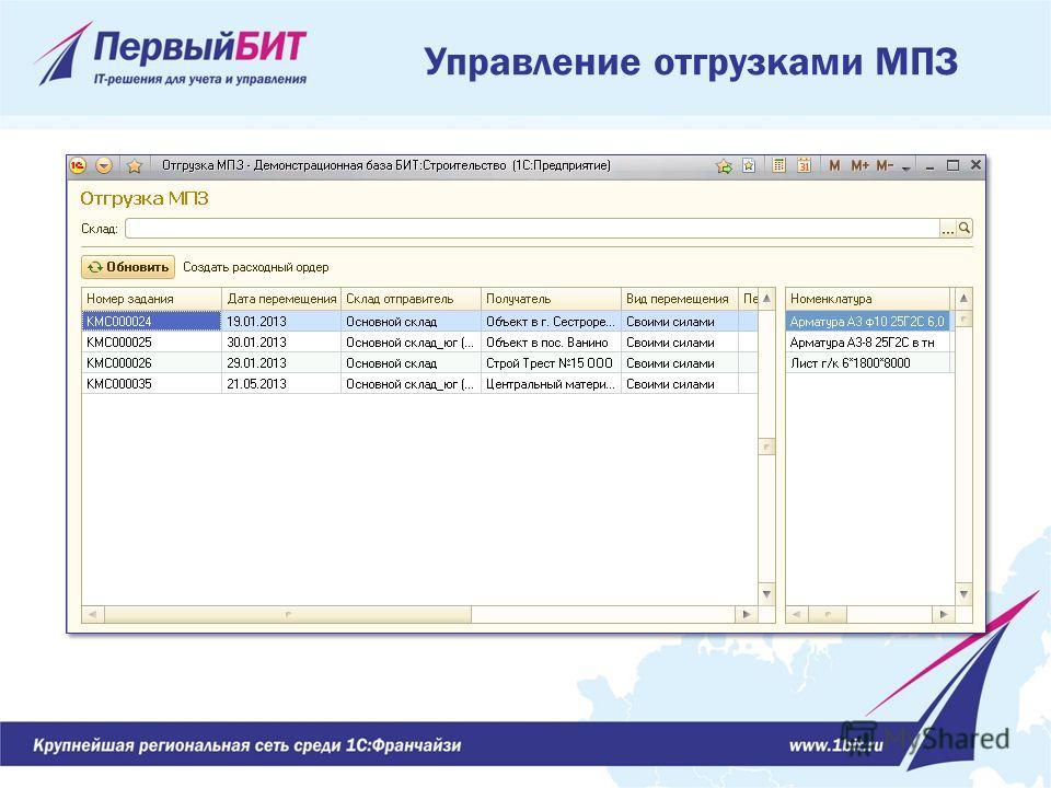 Управление отгрузками МПЗ