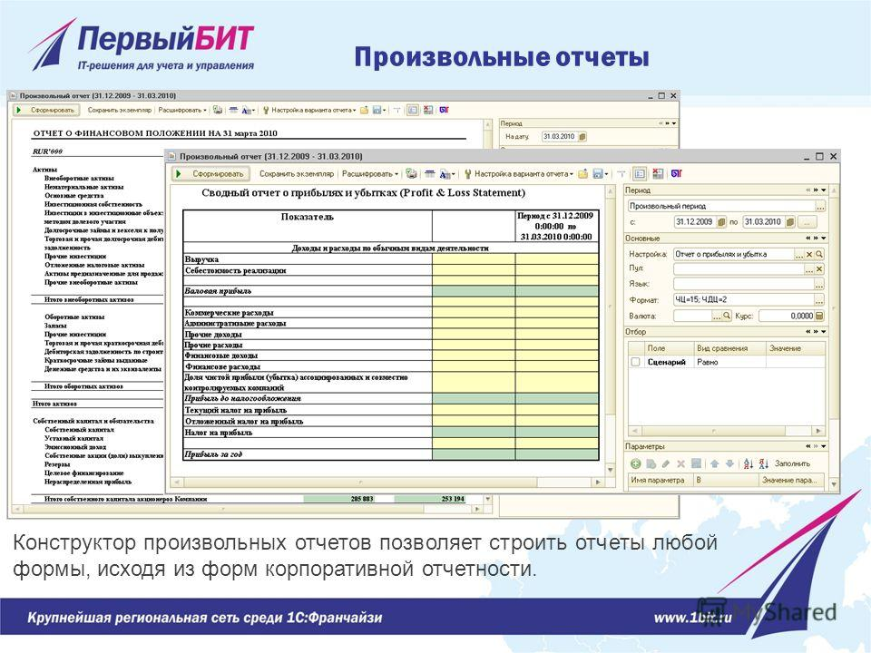 Конструктор произвольных отчетов позволяет строить отчеты любой формы, исходя из форм корпоративной отчетности. Произвольные отчеты