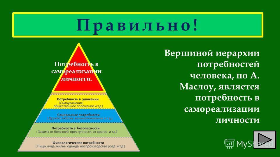 Правильно! Вершиной иерархии потребностей человека, по А. Маслоу, является потребность в самореализации личности Потребность в самореализации личности.
