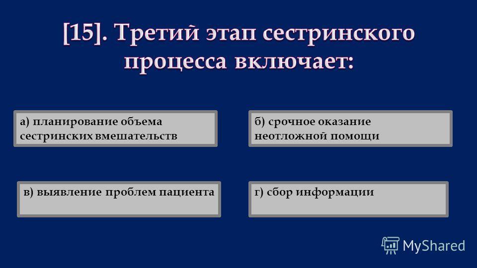 а) планирование объема сестринских вмешательств б) срочное оказание неотложной помощи г) сбор информациив) выявление проблем пациента