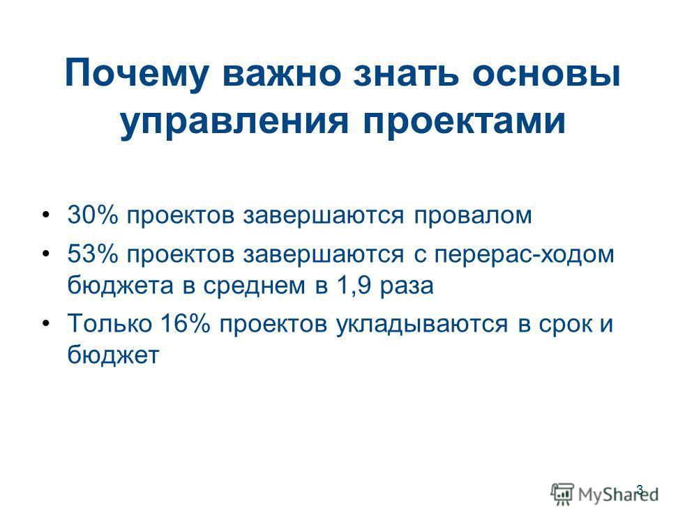 3 Почему важно знать основы управления проектами 30% проектов завершаются провалом 53% проектов завершаются с перерас-ходом бюджета в среднем в 1,9 раза Только 16% проектов укладываются в срок и бюджет