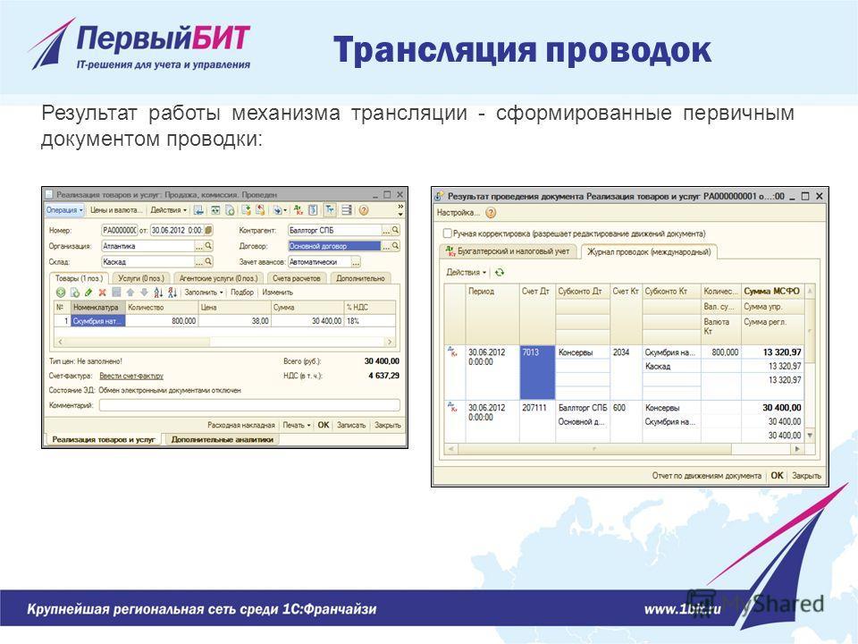 Результат работы механизма трансляции - сформированные первичным документом проводки: Трансляция проводок