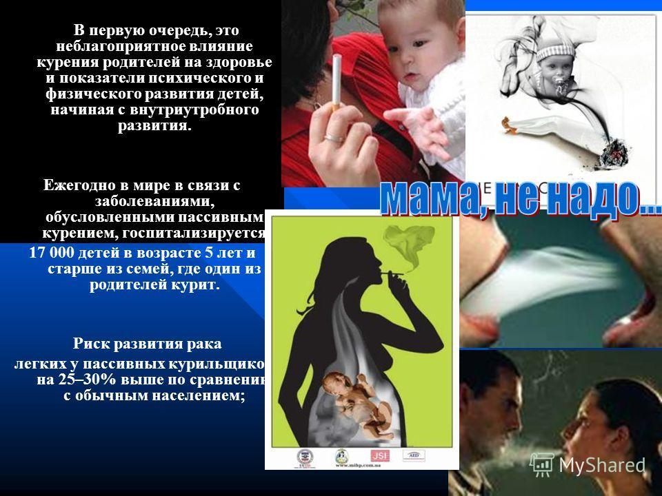 В первую очередь, это неблагоприятное влияние курения родителей на здоровье и показатели психического и физического развития детей, начиная с внутриутробного развития. Ежегодно в мире в связи с заболеваниями, обусловленными пассивным курением, госпит