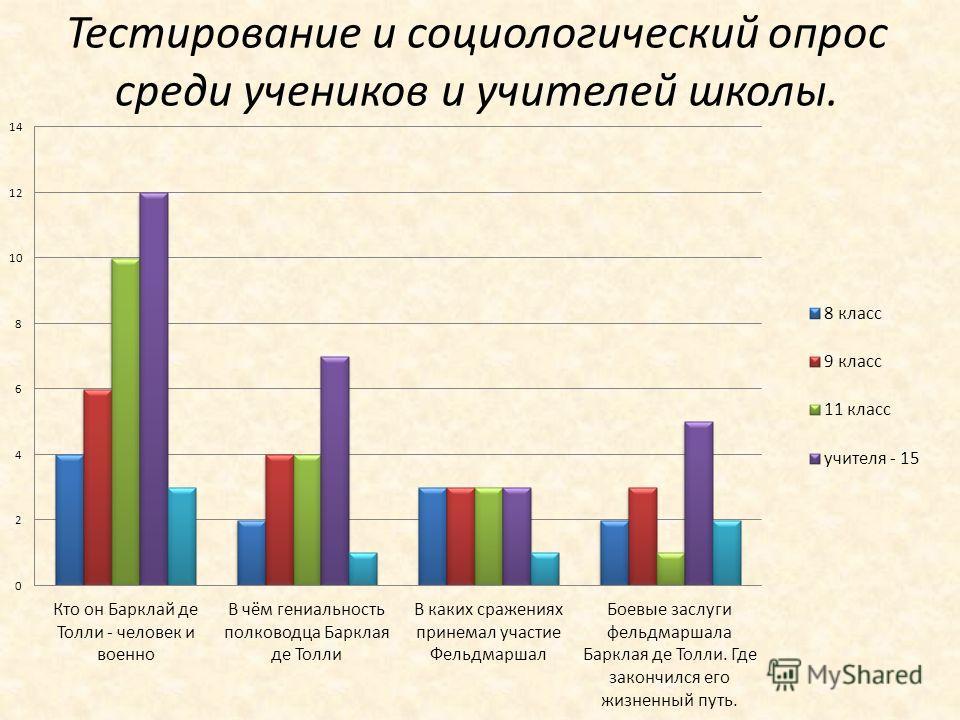Тестирование и социологический опрос среди учеников и учителей школы.