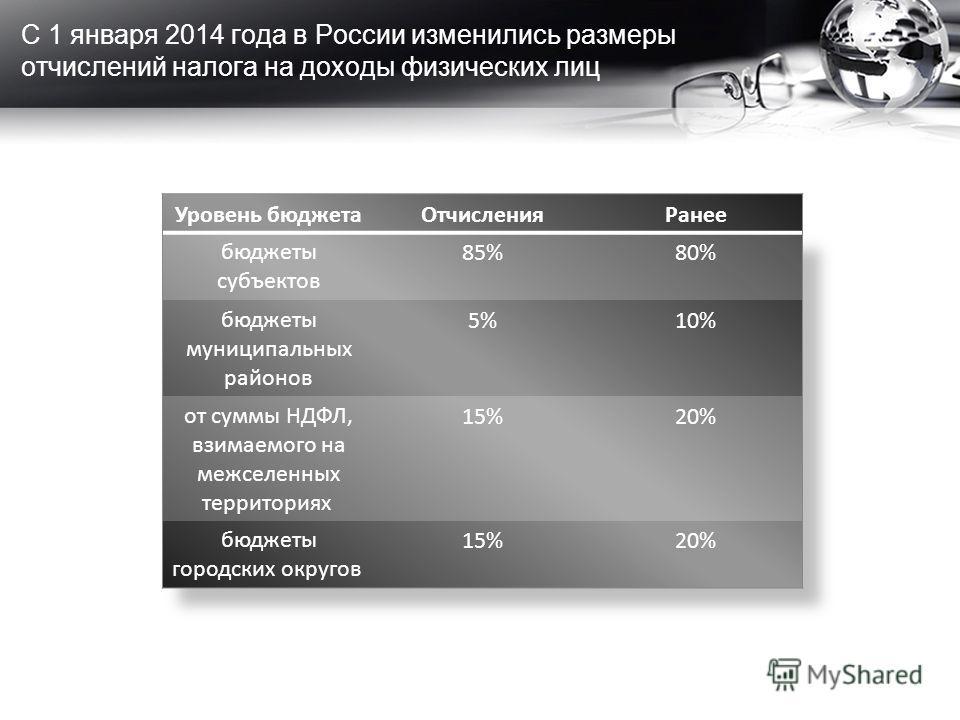 С 1 января 2014 года в России изменились размеры отчислений налога на доходы физических лиц
