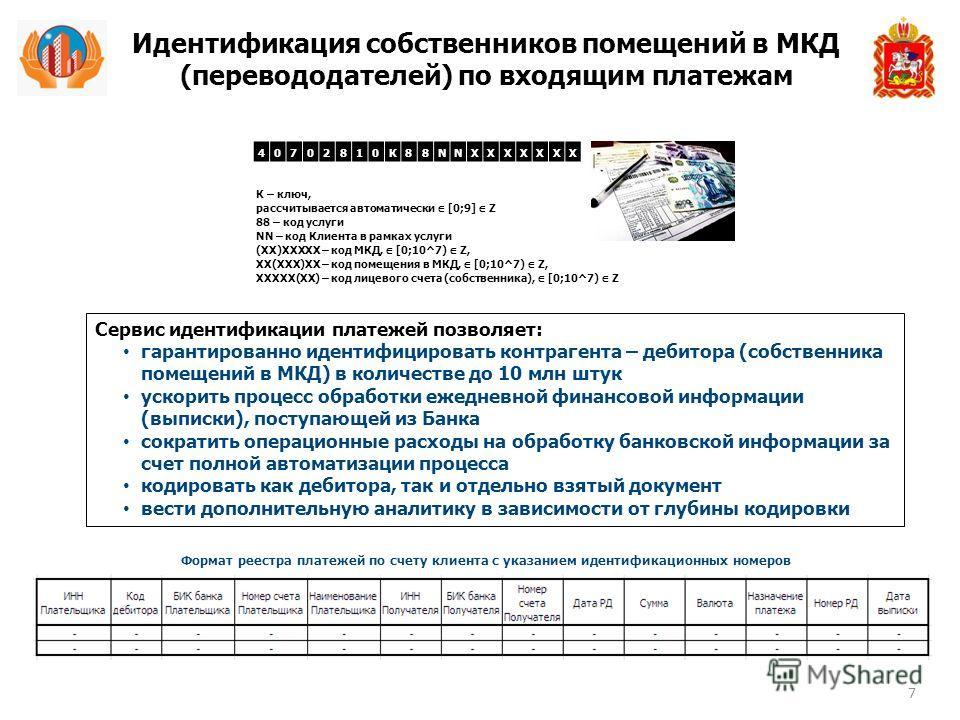 Идентификация собственников помещений в МКД (перевододателей) по входящим платежам 7 К – ключ, рассчитывается автоматически [0;9] Z 88 – код услуги NN – код Клиента в рамках услуги (ХХ)ХХХХХ – код МКД, [0;10^7) Z, ХХ(ХХХ)ХХ – код помещения в МКД, [0;