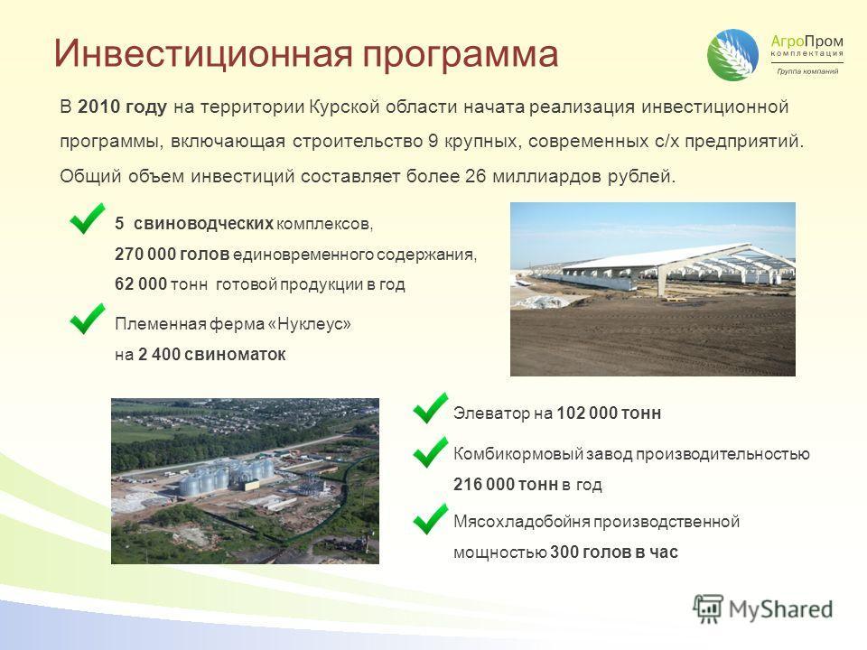 Инвестиционная программа В 2010 году на территории Курской области начата реализация инвестиционной программы, включающая строительство 9 крупных, современных с/х предприятий. Общий объем инвестиций составляет более 26 миллиардов рублей. 5 свиноводче