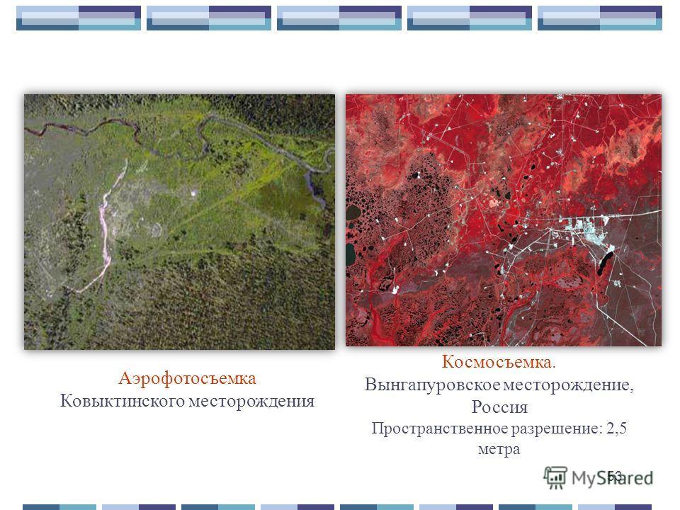 Космосъемка. Вынгапуровское месторождение, Россия Пространственное разрешение: 2,5 метра Аэрофотосъемка Ковыктинского месторождения 53
