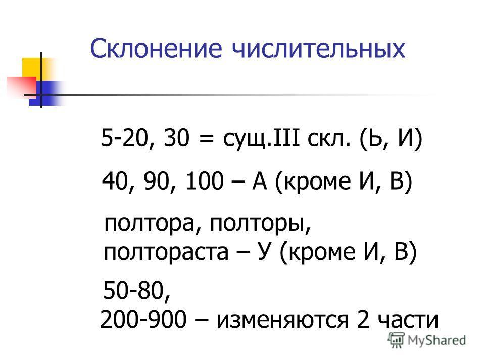 Склонение числительных 5-20, 30 = сущ.III скл. (Ь, И) 40, 90, 100 – А (кроме И, В) полтора, полторы, полтораста – У (кроме И, В) 50-80, 200-900 – изменяются 2 части