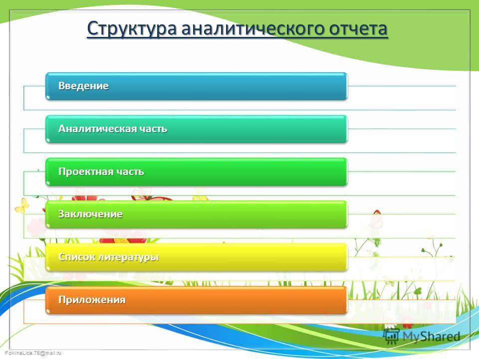 FokinaLida.75@mail.ru Структура аналитического отчета Введение Аналитическая часть Проектная часть Заключение Список литературы Приложения